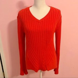 Market & Spruce Orange Ribbed V Neck Sweater SZ M